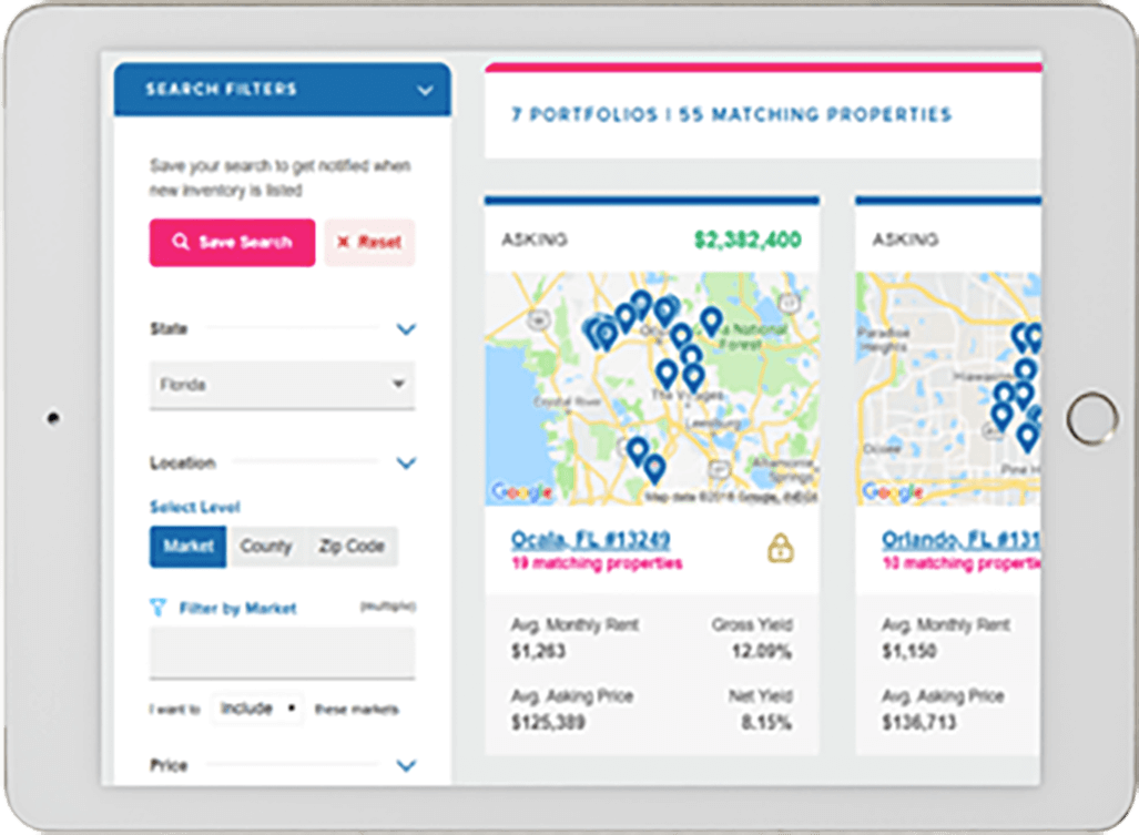 Screenshot of the Investor Marketplace Search features