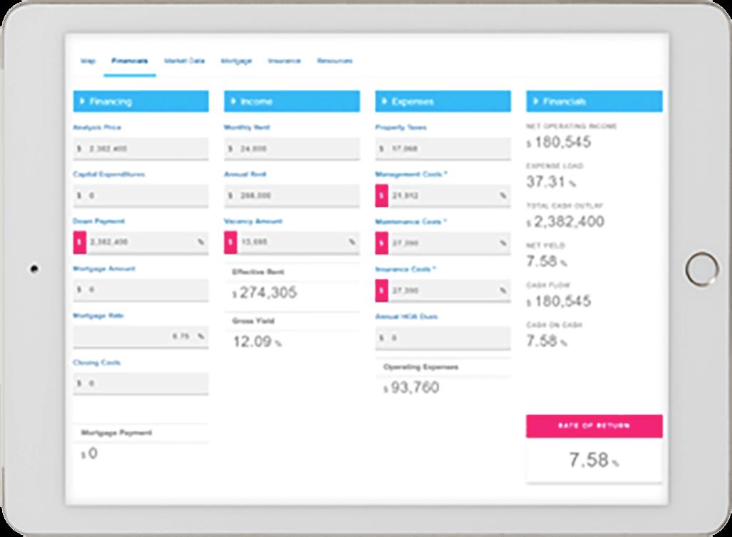 Screenshot of the Investor Marketplace Financial Calculator